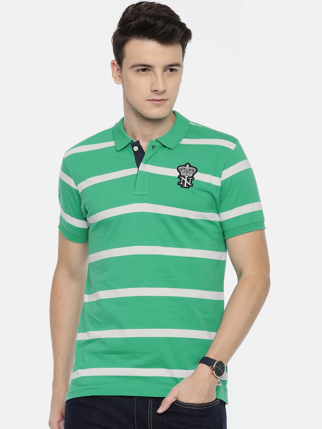b3f4faed Buy Indigo Nation Men Green & White Striped Polo T Shirt - Tshirts ...