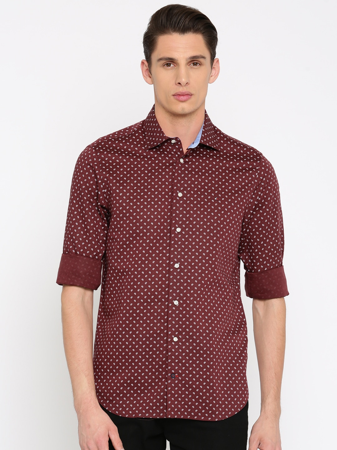 Buy Tommy Hilfiger Blue Printed New York Fit Casual Shirt - Shirts