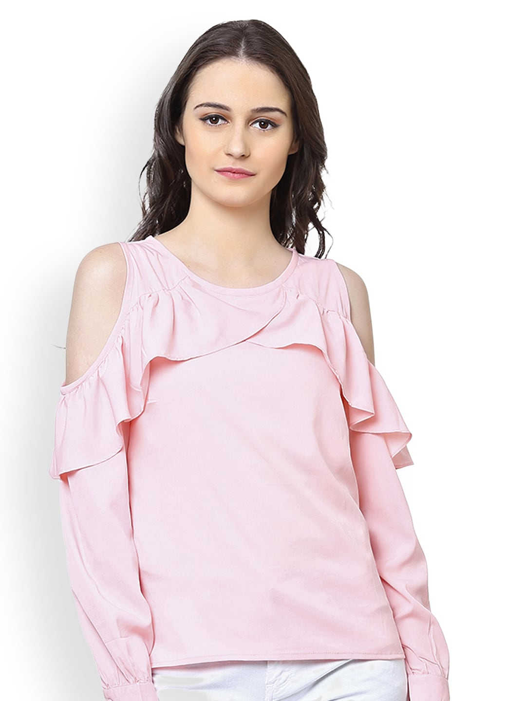 1f071452e4dd5 Buy The Gud Look Pink Cold Shoulder Blouson Top - Tops for Women ...