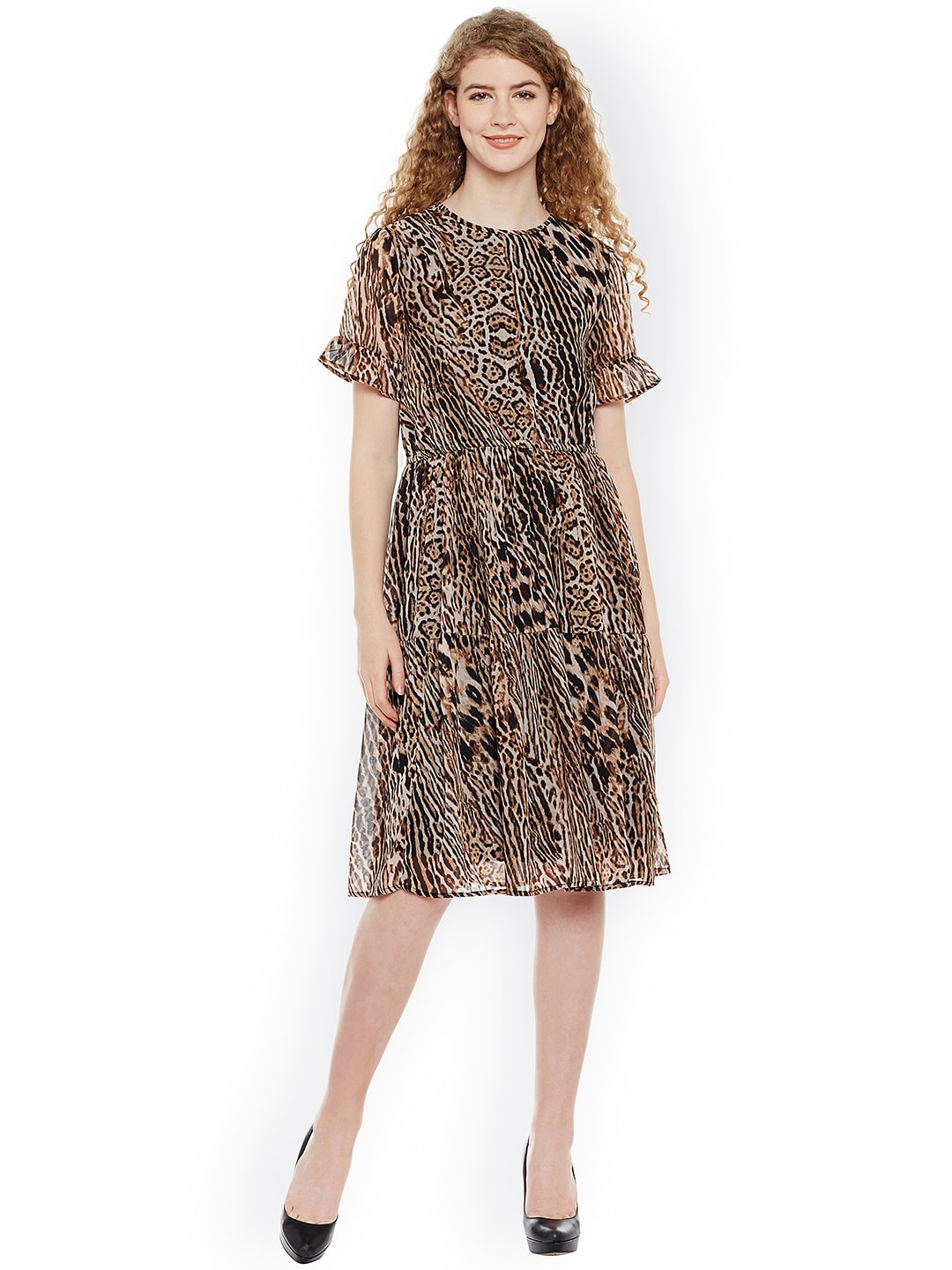 a4a4154b59 FOREVER 21  low cost 85e19 fbf5f Buy Oxolloxo Women Brown Black Animal Print  A Line Dress ...