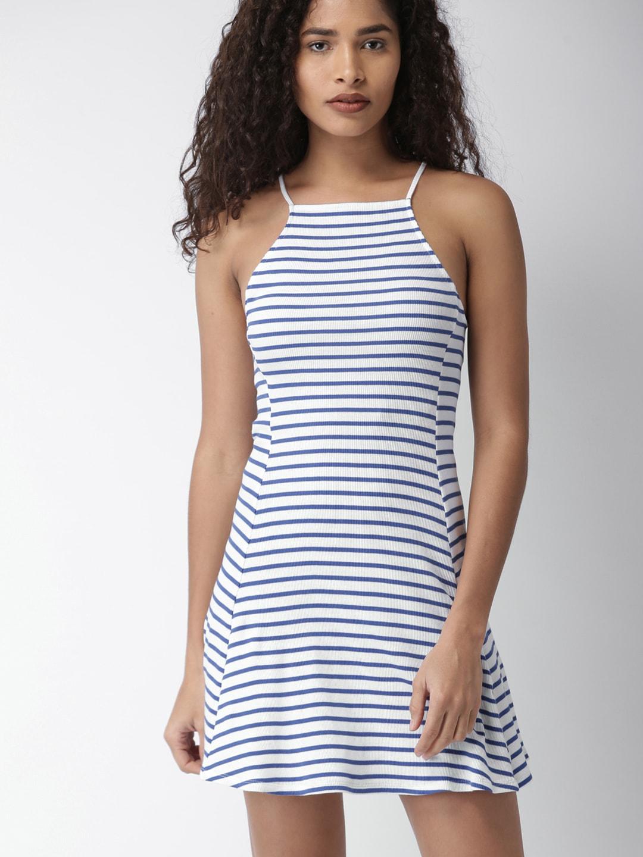 Buy FOREVER 21 Women Red   White Striped Skater Dress - Dresses for ... 7429a69060