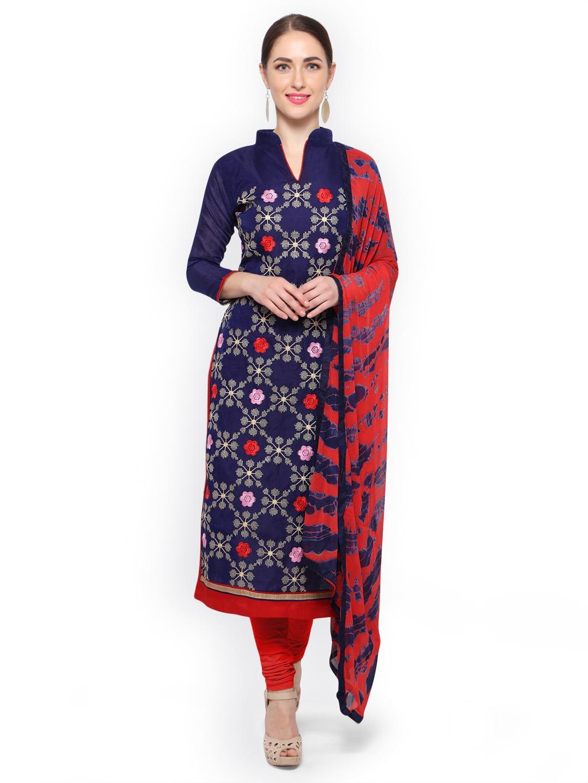 edcec696c Buy Pisara Pink   Navy Blue Cotton Blend Unstitched Dress Material ...