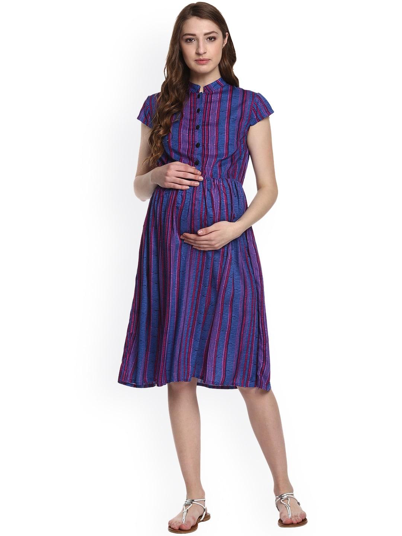 c5070b58714ec Buy Mine4Nine Navy Blue Printed Fit & Flare Maternity Dress ...