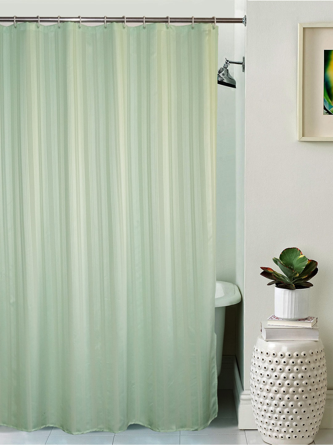 Buy BOMBAY DYEING Green White Colourblocked Shower Curtain