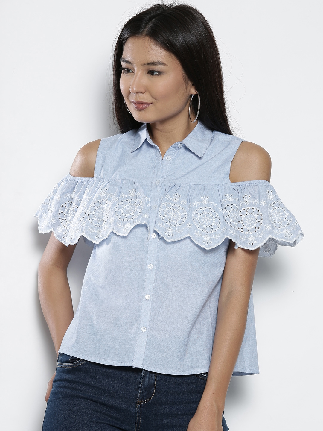 f1df2ca4cb85e Buy ONLY Women White   Blue Striped Cold Shoulder Shirt Style Top ...