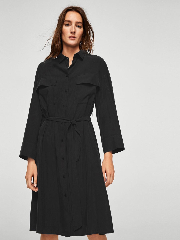 44960b22ff6 Buy MANGO Women Khaki Solid Shirt Dress - Dresses for Women 6995871 ...