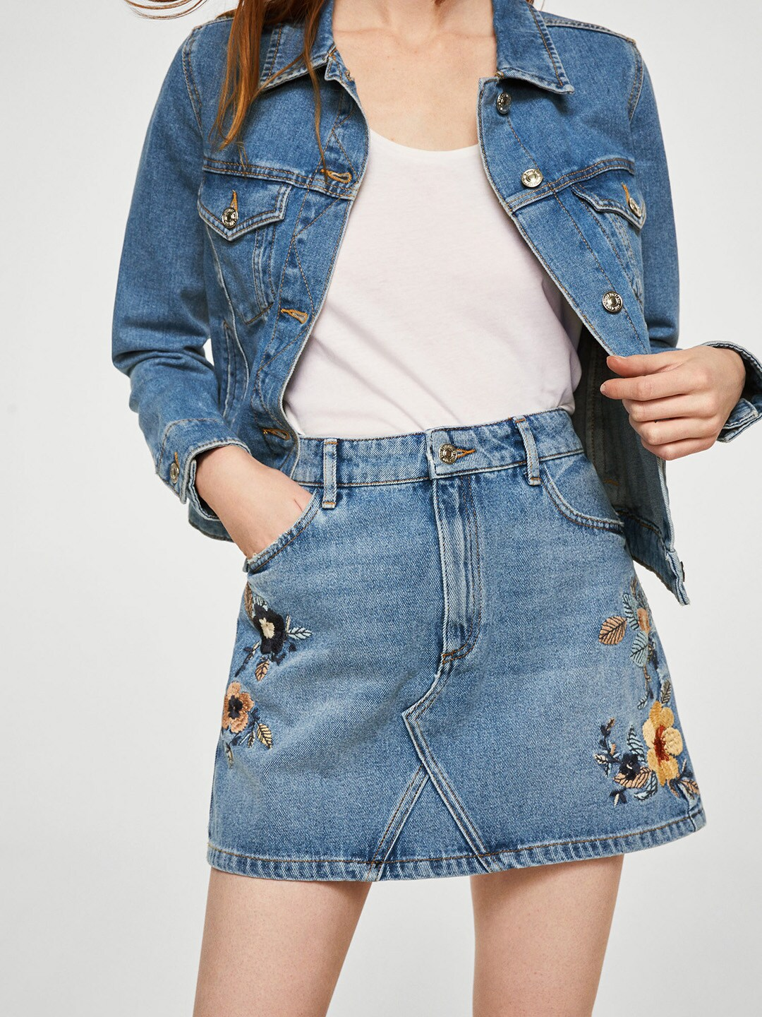 4b1e47546 Buy AMERICAN EAGLE OUTFITTERS Blue Washed Embroidered Denim Mini ...