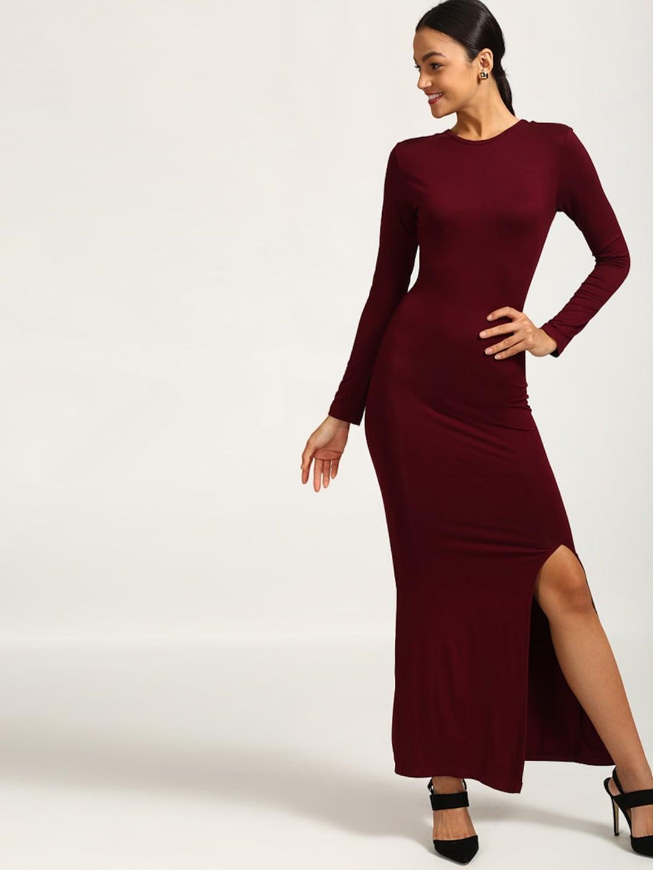 f928d8e435 Buy StalkBuyLove Women Maroon Solid Bodycon Off Shoulder Dress ...
