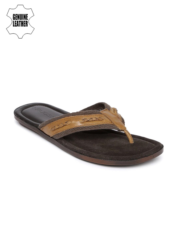 842b6869458ef5 Buy Van Heusen Men Brown Leather Sandals - Sandals for Men 1218059 ...