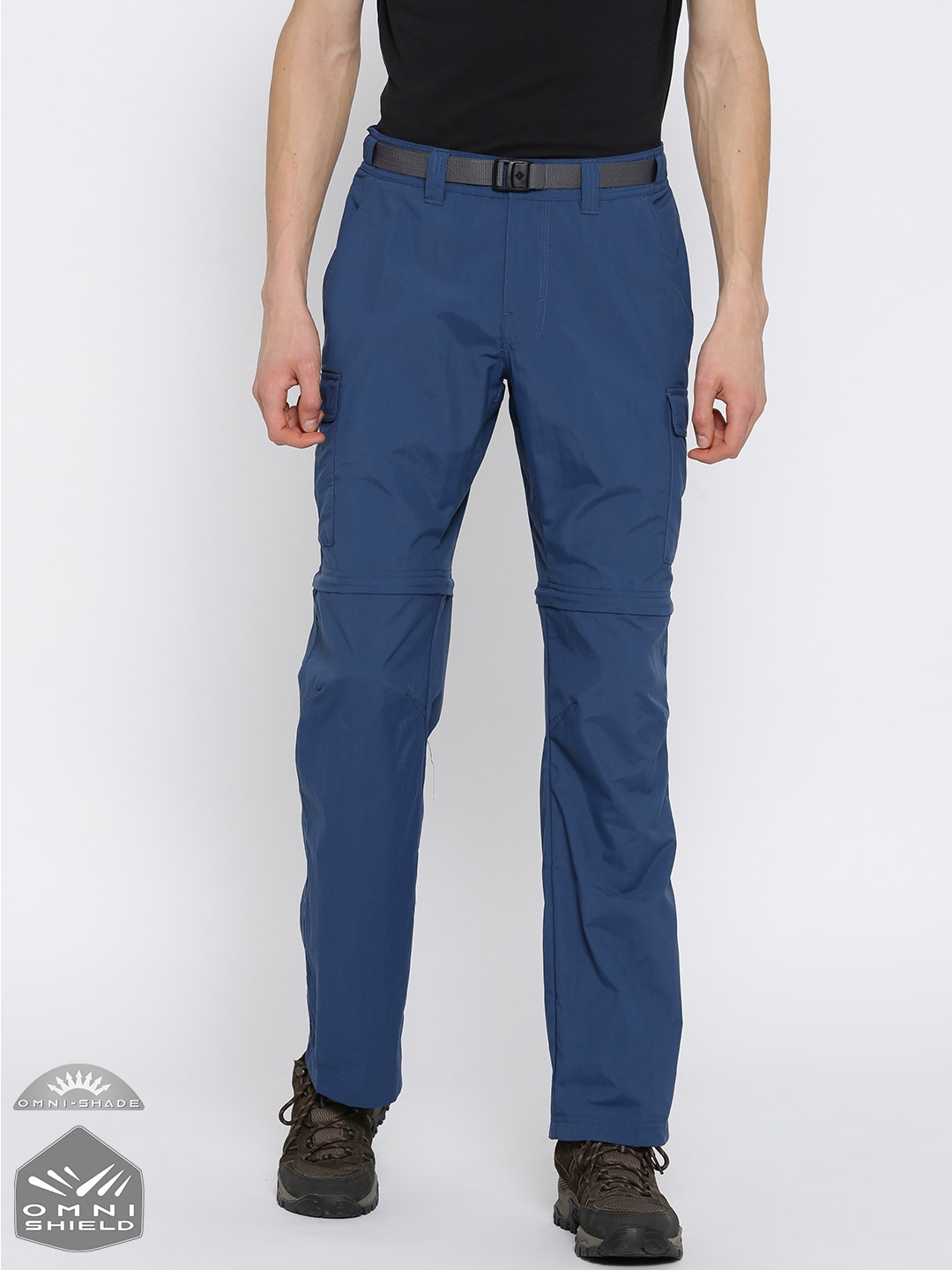 Buy Columbia Men Blue Solid Maxtrail Hiking Trousers - Trousers for ... ee00f67fa2