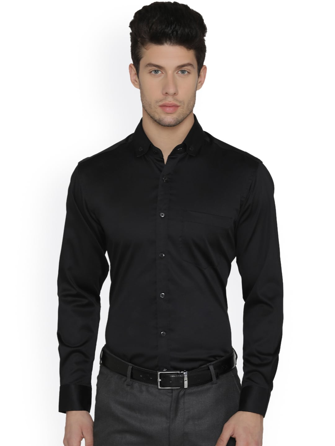 f9517d958f8 Buy Dazzio Men Black Modern Slim Fit Solid Formal Shirt - Shirts for ...