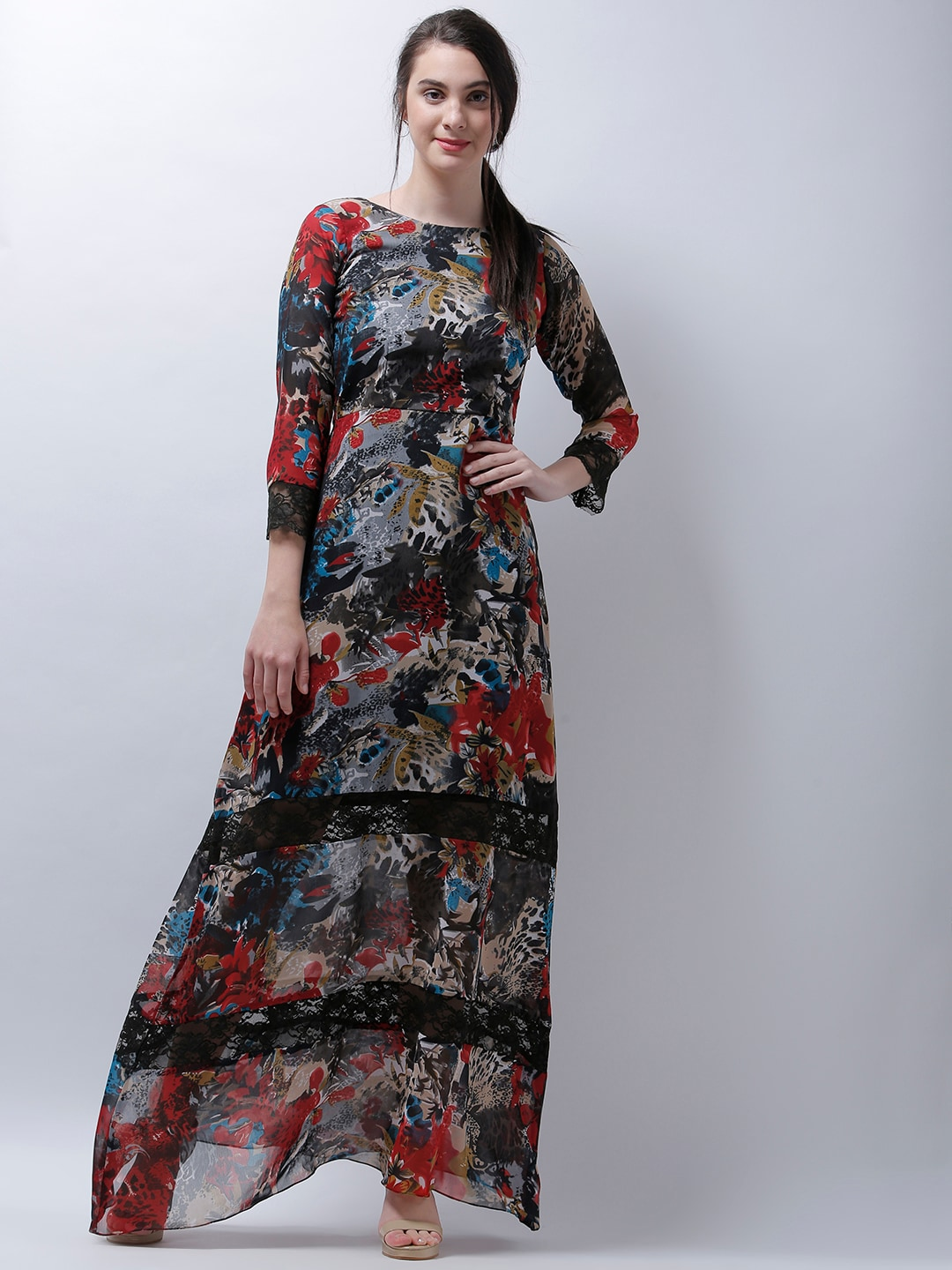 06159922d6 Athena Black Printed Maxi Dress for women price in India on 30th ...