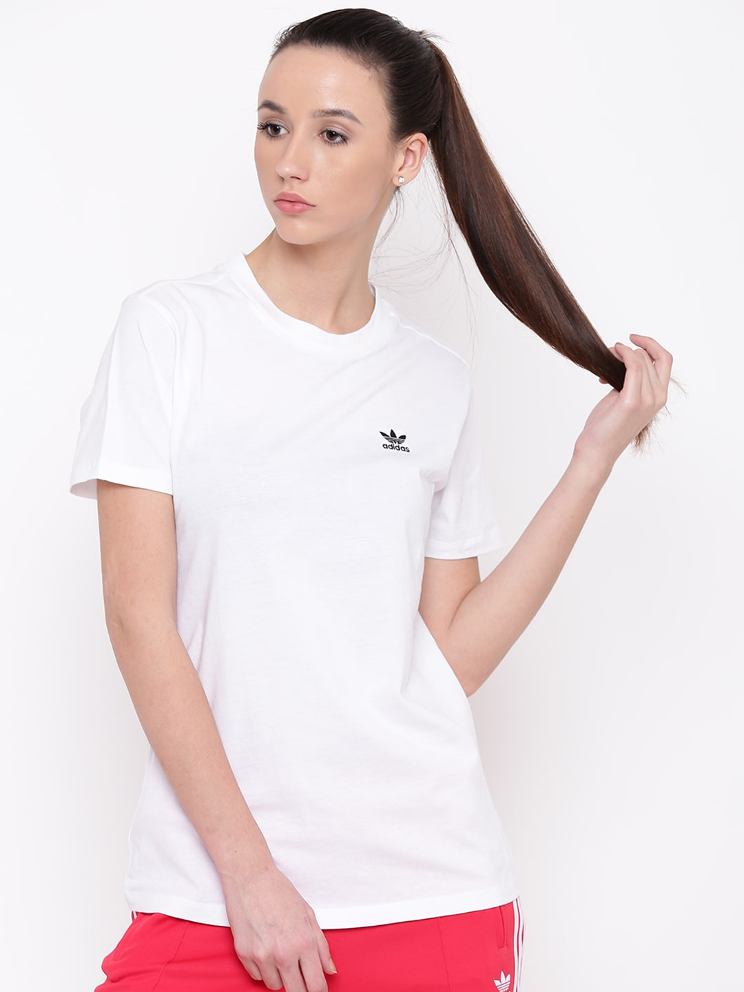 432235ae Buy ADIDAS Originals Women White BF Roll Up Solid Round Neck T Shirt ...