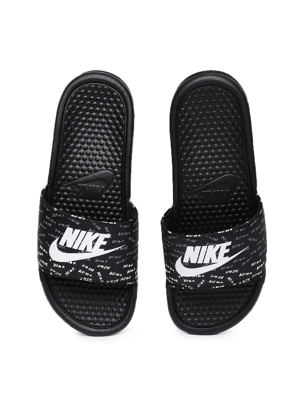 timeless design 1dd81 88c62 Nike Women Black   White Benassi JDI Printed Slip-On Flip-Flops