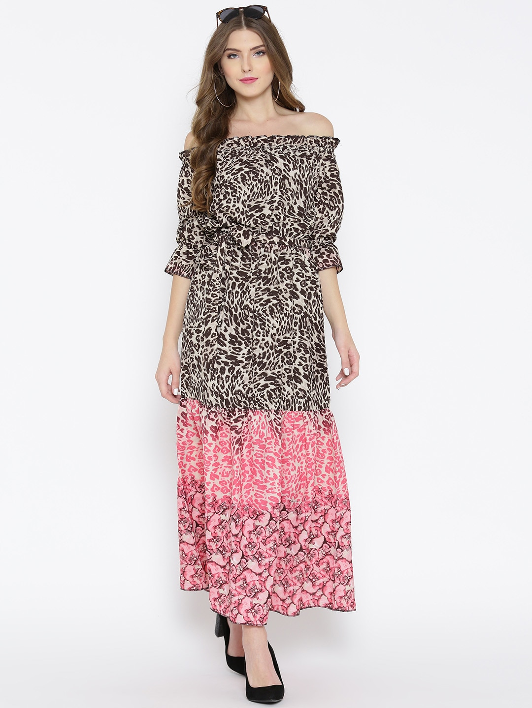 5d4ec011bd30 Buy Sera Women Beige   Pink Printed Off Shoulder Maxi Dress - Dresses for  Women 1973784