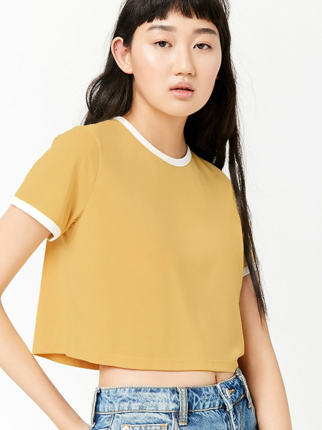 f6d2678a79e Buy FOREVER 21 Women Grey Solid Round Neck Crop T Shirt - Tshirts ...
