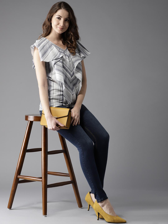 6b67b859b16 Buy Moda Rapido Women Grey Solid Empire Top - Tops for Women 6011531 ...