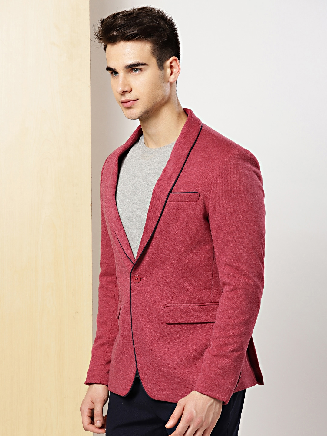 0f45d7296a3 Invictus Maroon Solid Slim Fit Jacket   Blazers for men price - Best ...