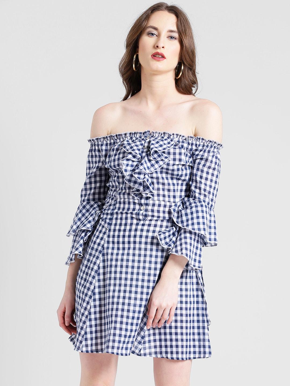110d9961e6bb Buy Miss Chase Women Black Gingham Off Shoulder Shirt Dress ...