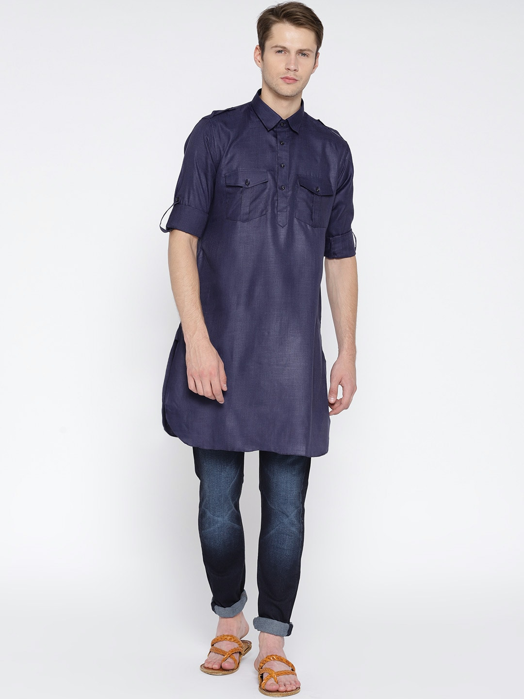 24a5a0a3d6 Buy Style Quotient By Noi Men Navy Blue Chambray Solid Pathani Kurta ...