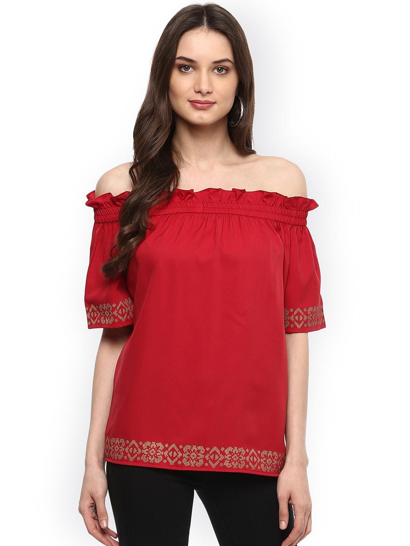 6b993c21d4d1 Buy LOVE GEN Women Red Solid Bardot Top - Tops for Women 6537066 ...