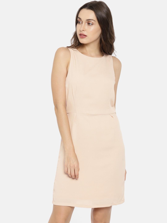 Buy Vero Moda Women Peach Coloured Solid A Line Layered Dress ... 94fd16438