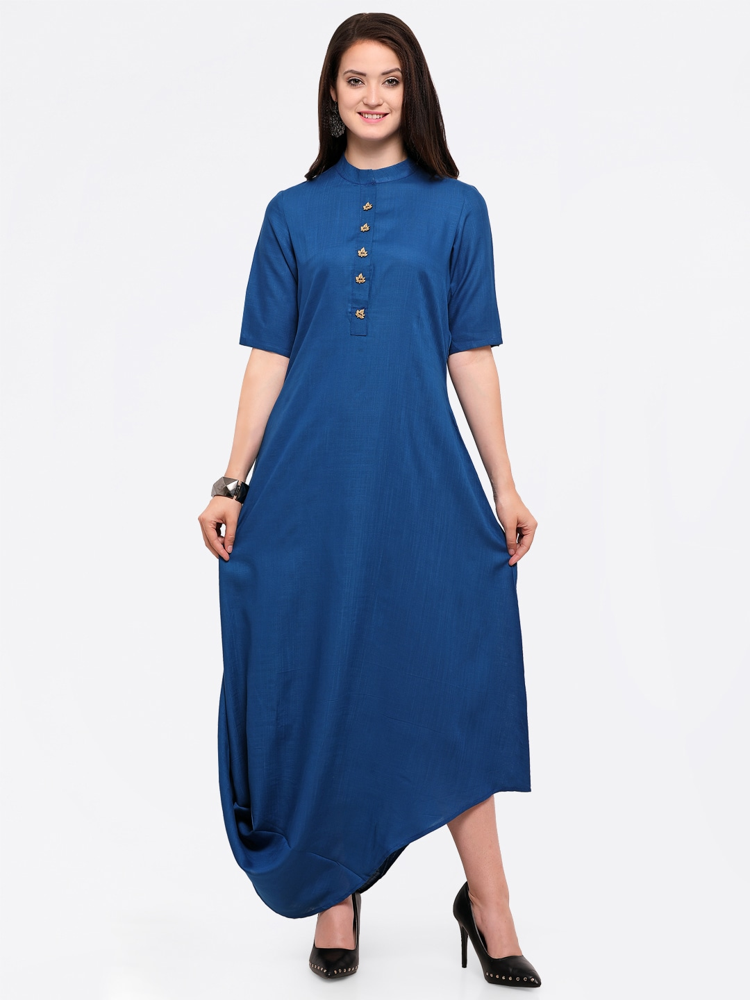 2b07dee64ae Inddus Navy Blue Solid Maxi Dress for women price in India on 1st ...