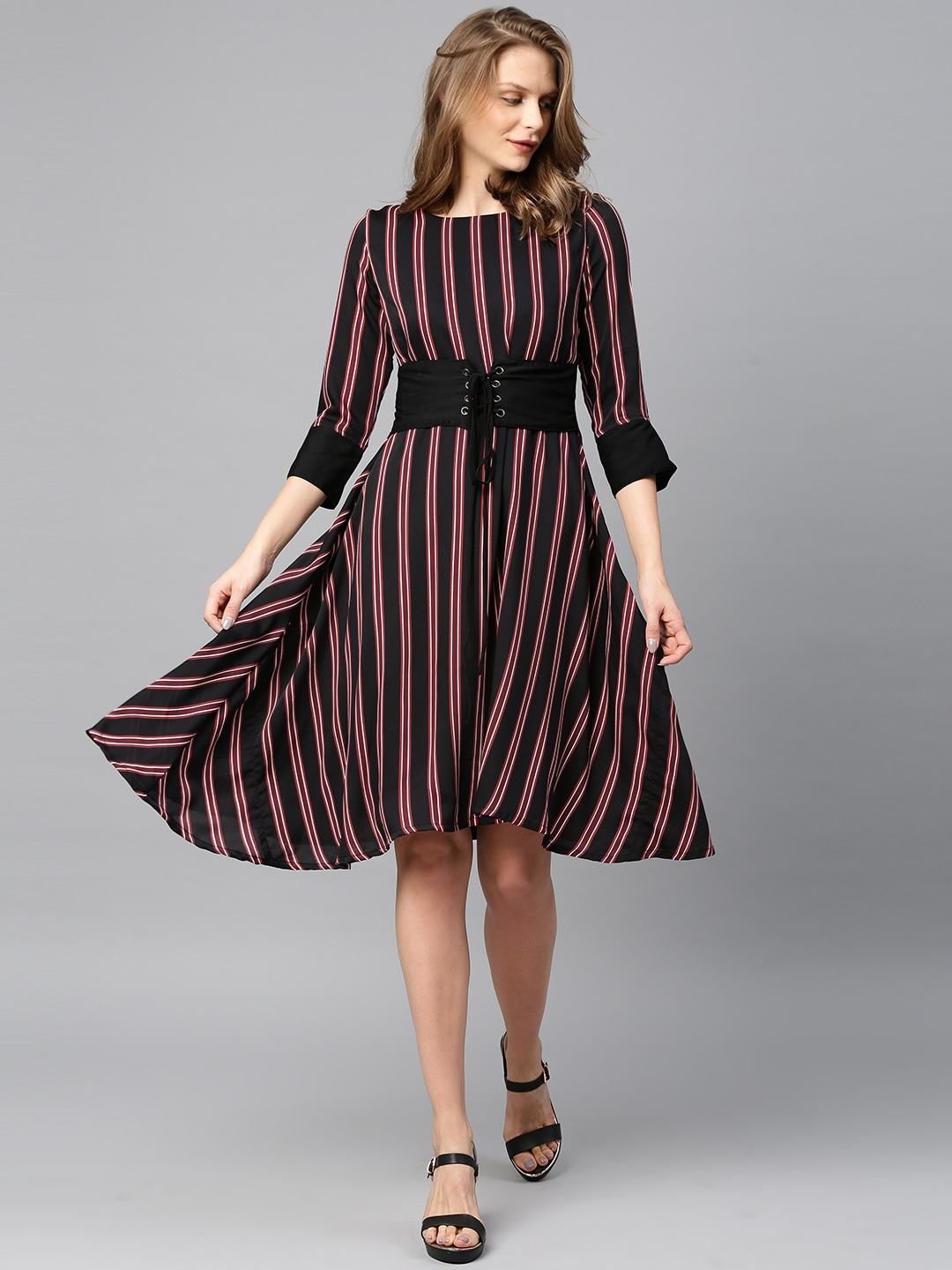 bb2acd62810 Tokyo Talkies. Rs. 2399 Rs. 959 (60% OFF). Women Striped Fit and Flare Dress