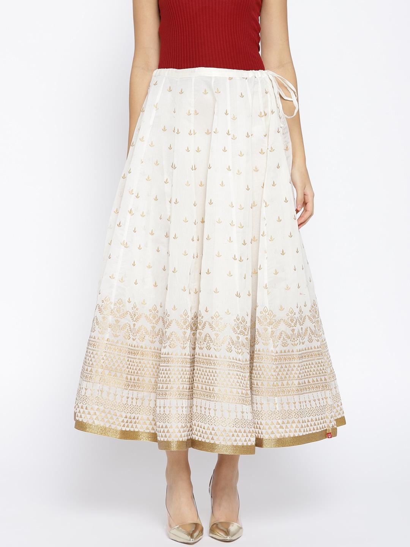 4c26b4103 Buy Rangriti Yellow & Golden Printed Flared Maxi Skirt - Skirts for ...
