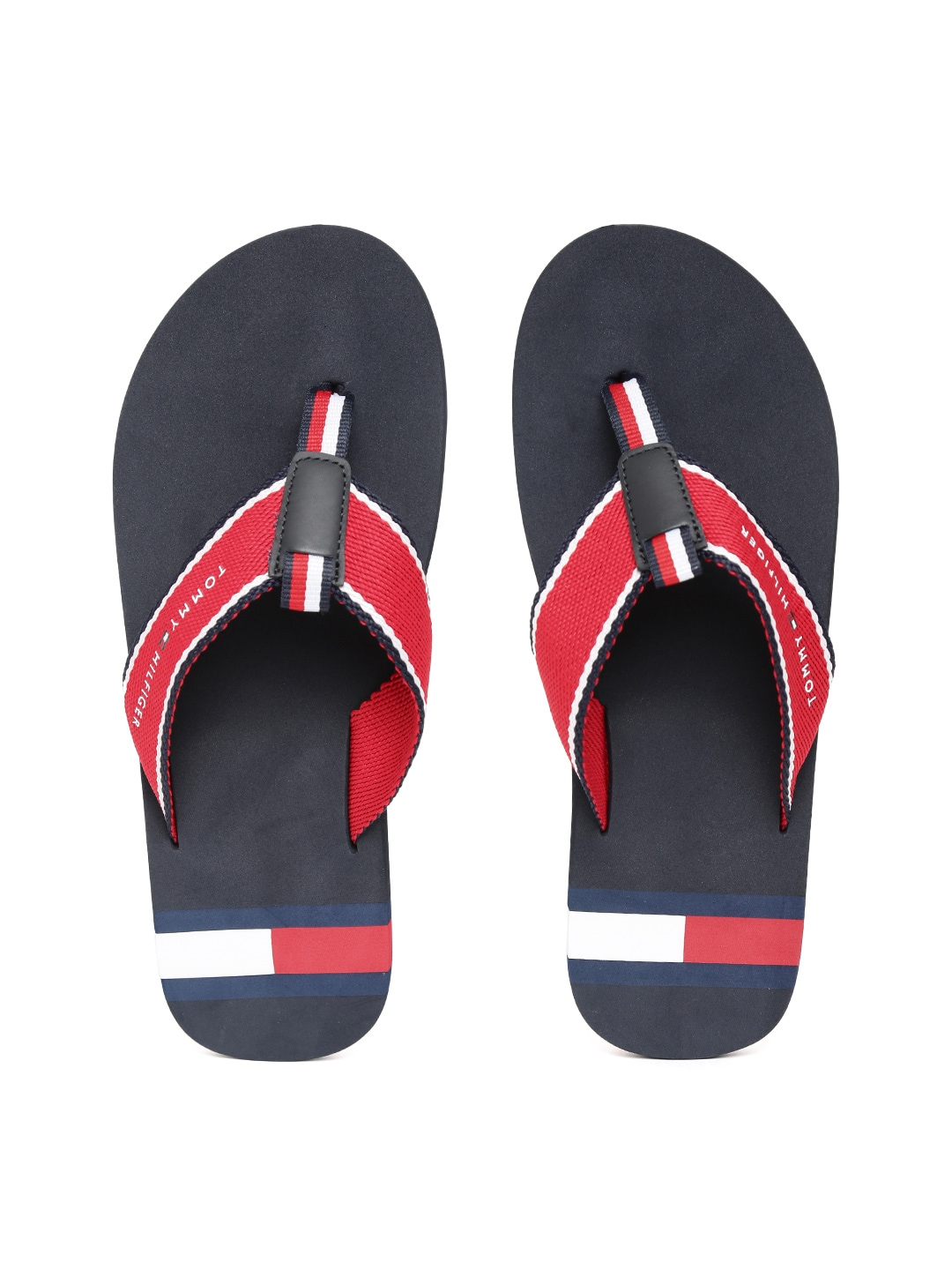 0701f259fce16d Buy Tommy Hilfiger Men Coffee Brown   White Striped Thong Flip Flops ...