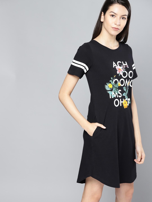 264ee4f3bdb Buy Disrupt Women Rust Orange Printed T Shirt Dress - Dresses for ...