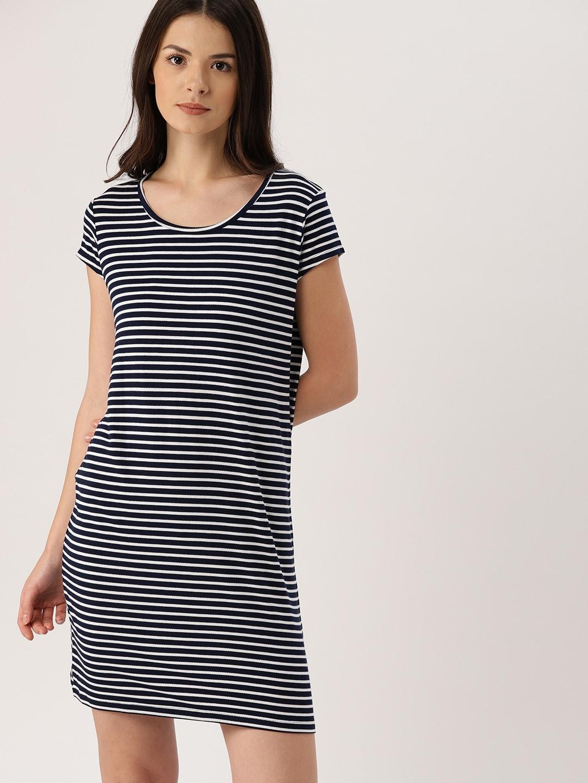 Buy All About You From Deepika Padukone Black White Striped Drop Fiction Peplum Dress Purple Mstaken