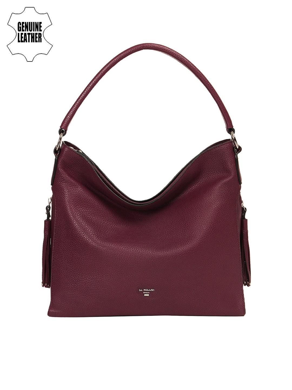 022b059bcc8e Buy Da Milano Purple Embellished Leather Hobo Bag - Handbags for ...