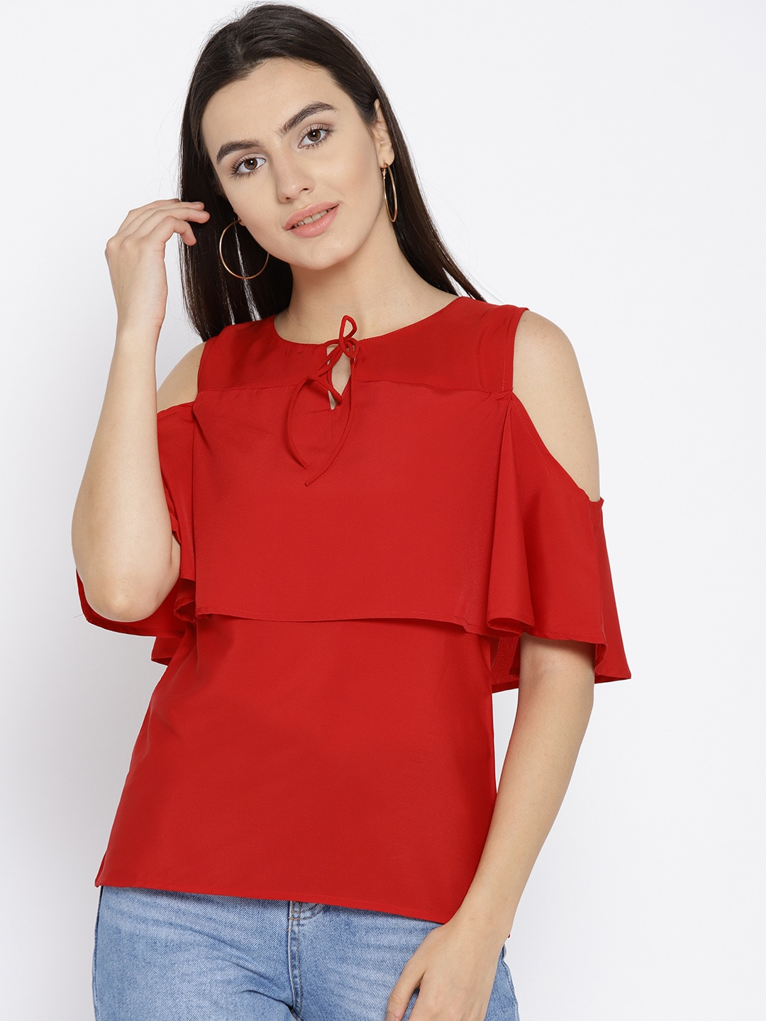 3368990a40bf Buy Harpa Women Red Cold Shoulder Top - Tops for Women 7269259
