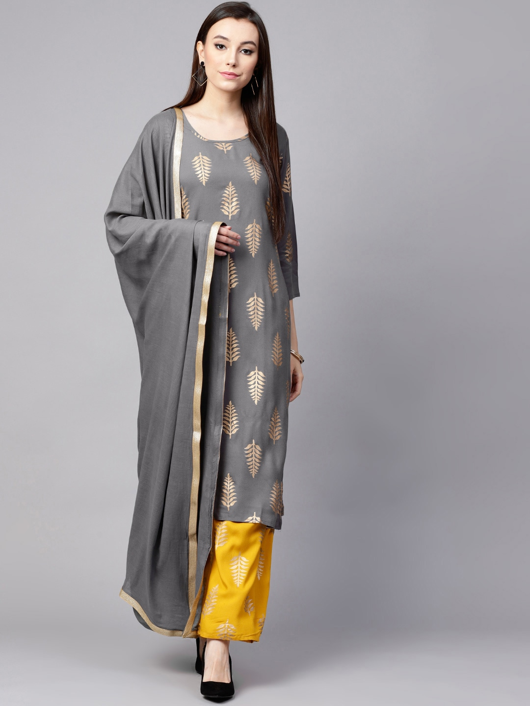 ba6e582007 Nayo Grey Printed Palazzo Kurta Set for women price in India on 13th ...