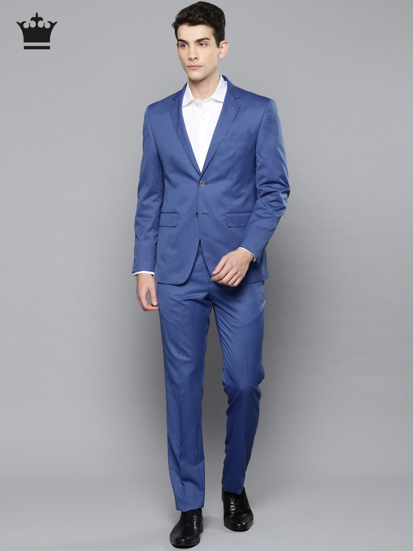 26f565afa7e9 Buy Van Heusen Men Navy Blue Self Design Single Breasted Formal Suit ...