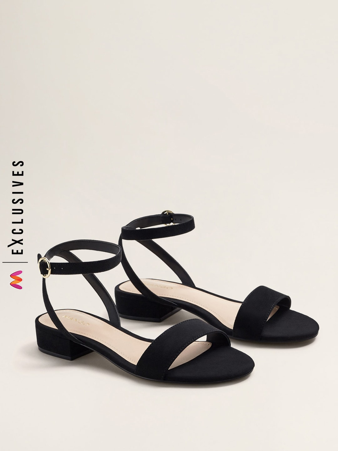 MANGO Women Black Solid Heels