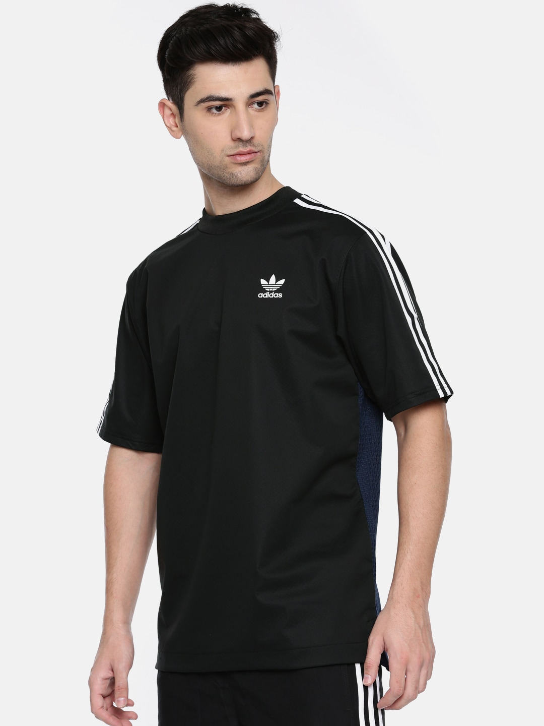 a57b9ab3e67 Buy ADIDAS Originals Men Black 3 Stripes Solid Round Neck T Shirt ...