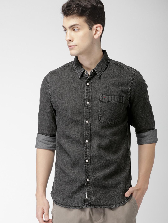 751b637e02 Buy GAP Men s Black Denim Western Shirt In Laser Wash - Shirts for ...