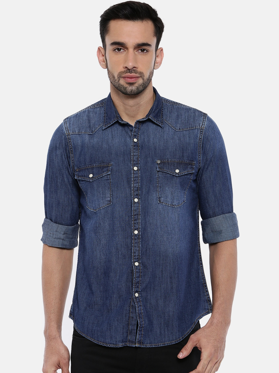 bfee8a161c5 Buy Pepe Jeans Men Blue Slim Fit Solid Casual Shirt - Shirts for Men ...