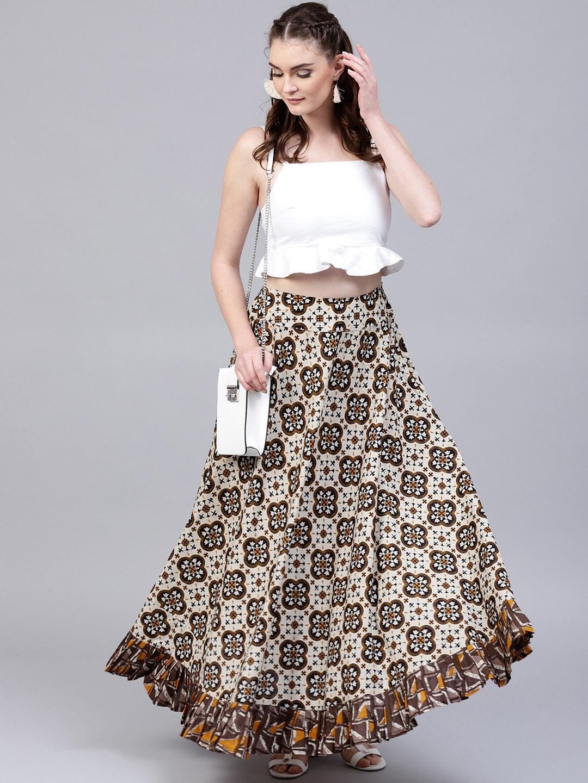 42b66c94b4 Buy AKS Blue & Green Floral Print Maxi Lightweight Skirt - Skirts ...