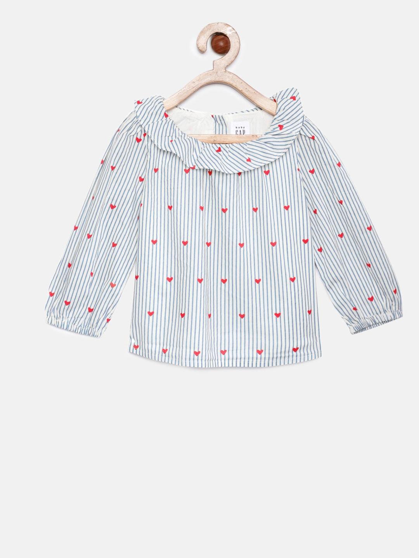 4a9a3a80337511 Buy GAP Girls' Blue Denim Ruffle Sleeve Top - Tops for Girls 7118256 ...