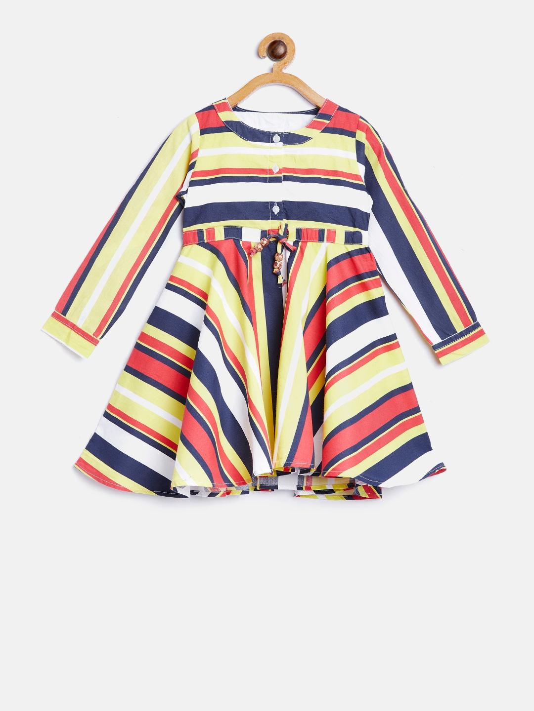cf2292b45 Buy Bella Moda Girls Navy Blue   White Striped Fit And Flare Dress ...