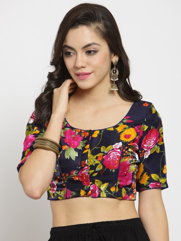 2fd1e1740806c2 Buy TJORI Women Pink, Grey & White Ikat Print Saree Blouse - Saree ...