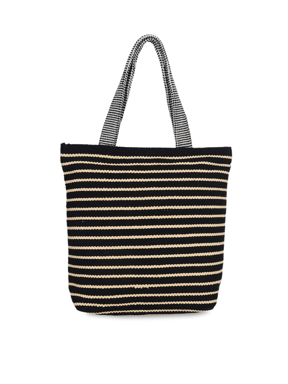 c4b9e8c6da Buy Anekaant Black   White Self Design Tote Bag - Handbags for Women ...