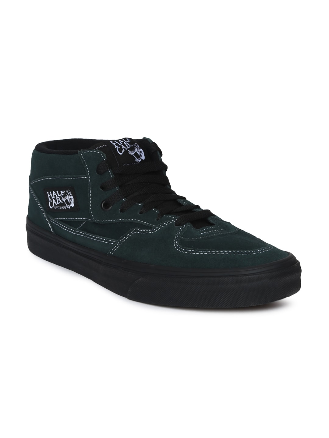 14209fa015 Buy Vans Unisex Black Solid Synthetic Half Cab Mid Top Sneakers ...