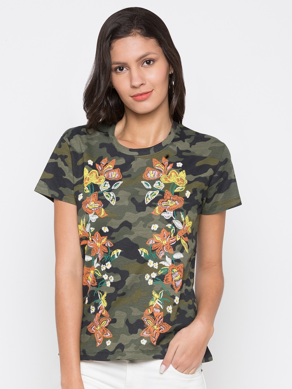 5cb753acf91c Buy Converse Women Olive Green Printed Round Neck T Shirt - Tshirts ...