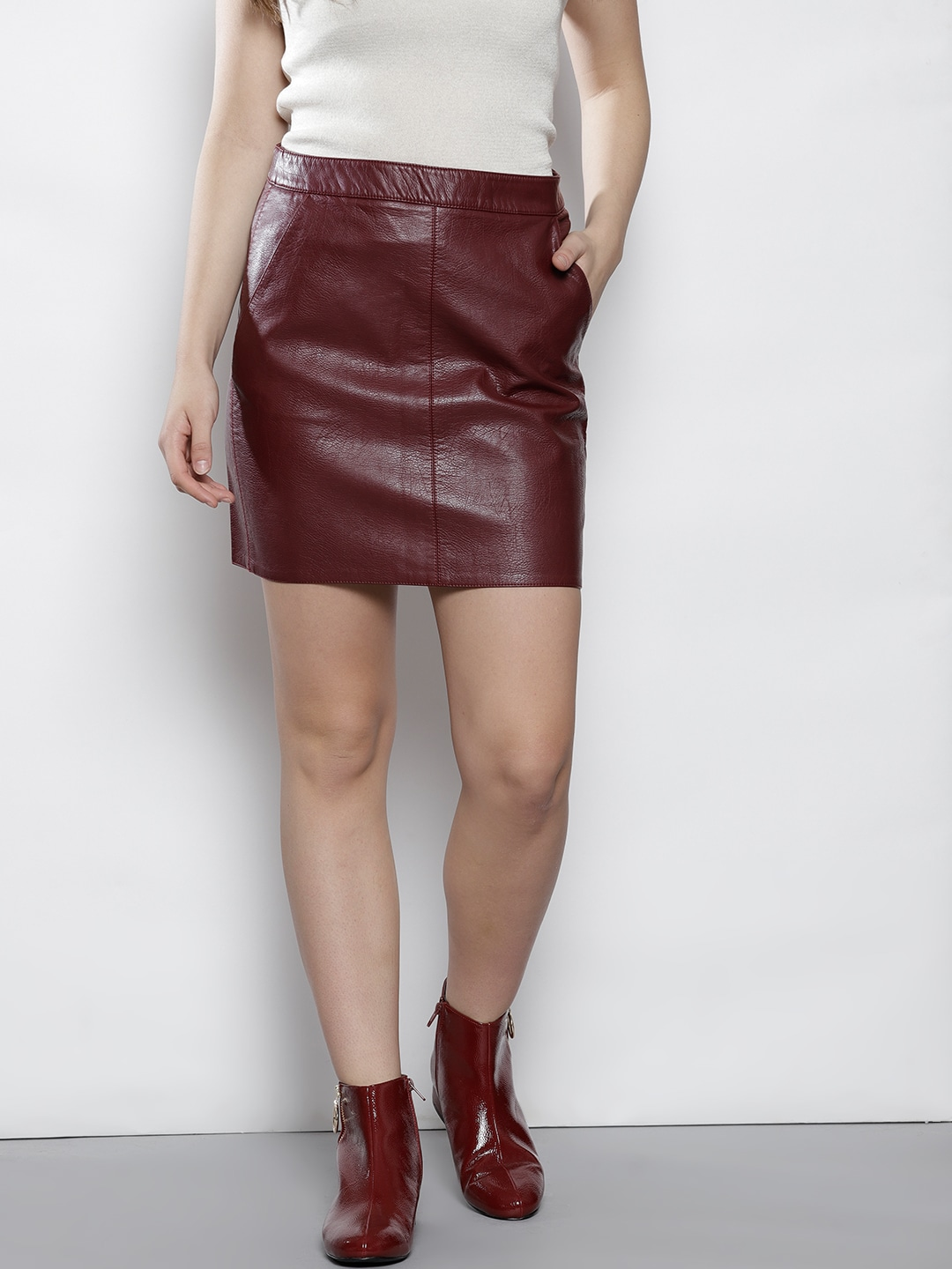 6d8a32bb6b1 Buy FOREVER 21 Dark Green Faux Leather Overlapping Mini Skirt ...