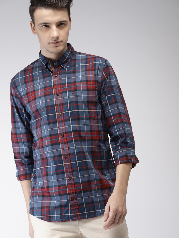 4740e8d57 Tommy Hilfiger Aqua Blue Printed Slim Fit Casual Shirt for men price ...