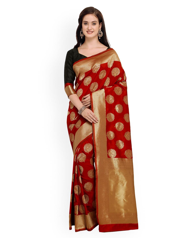 cf9c6abff5 Buy Shaily Red Pure Silk Embellished Banarasi Saree - Sarees for ...